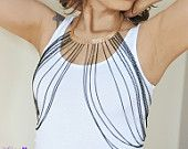 Body chain, chain vest, multi strand, vest necklace, chain harness