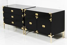 Jet Setter Side Tables I roomservicestore - black lacquered side tables with brass legs and hardware, modern black lacqu...