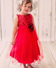 Love this Kid's Dream Red Sequin Tulle A-Line Dress - Toddler & Girls by Kid's Dream on #zulily! #zulilyfinds