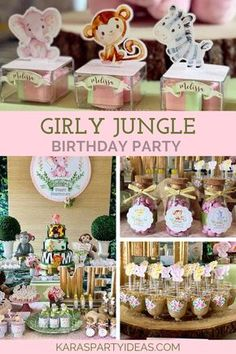 Girly Jungle Birthday Party (With images) 3rd Birthday Party For Girls, Jungle Theme Birthday, Second Birthday Ideas, Girl Birthday Themes, Jungle Party, Party Ideas For Girls, Girl Safari Party, Paris Birthday, Spa Birthday