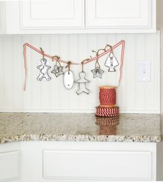 I love this fun vintage cookie cutter garland in this Christmas Kitchen by Ella Claire