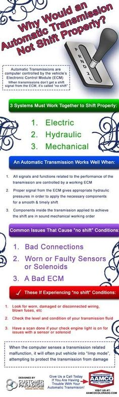 If your car's automatic transmission is not shifting properly, find out how to recognize the problem and if you need a transmission repair before it's too late!