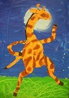 Direct draw the giraffe with pencil.  Color the yellow/orange first.  Then darker colors.  Cut out.  Trace plastic cup.  Paint blue background.  Paint moon in a circular motion.  Paint green grass.  Wait 30 seconds then paint over with yellow.  Etch with the end of the paintbrush.
