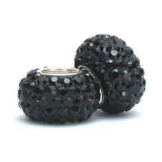 Set of 2 - Bella Fascini Black Onyx Crystal Pave Sparkle Bling - Solid .925 Sterling Silver Core European Charm Bead Made with Authentic Swarovski Crystals - Compatible Brand Bracelets : Authentic Pandora, Chamilia, Moress, Troll, Ohm, Zable, Biagi, Kay's Charmed Memories, Kohl's, Persona & more! Bella Fascini Beads,http://www.amazon.com/dp/B005VSUXD0/ref=cm_sw_r_pi_dp_LcAotb0RAFJ9X8ET