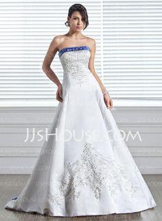 Wedding Dresses - $232.99 - A-Line/Princess Strapless Court Train Satin Wedding Dress With Embroidery Sashes Beadwork (002005281) http://jjshouse.com/A-Line-Princess-Strapless-Court-Train-Satin-Wedding-Dress-With-Embroidery-Sashes-Beadwork-002005281-g5281