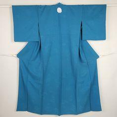 Blue, weaved flower pattern, hitoe iromuji / 【色無地】リサイクル着物/ブルー系 織りの花柄 一つ紋付 単衣