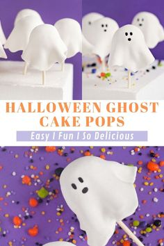Halloween Ghost Cake Pops are easy to make and so fun! This is a simple cake pop recipe that turns into an epic Halloween-themed treat! If you are having a Halloween Party yourself, these should definitely be on your to do list! Halloween Desserts, Halloween Cookies, Halloween Ghosts, Halloween Themes, Halloween Party, Fall Dessert Recipes, Fall Desserts, Ghost Cake, Dessert Decoration