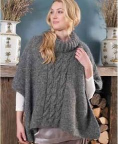 Free knitting pattern Poncho Erica by Martin Storey One size YARN Rowan Alpaca Cotton 10 x 50gm (photographed in Storm 405) NEEDLES 1 pair 41?2mm