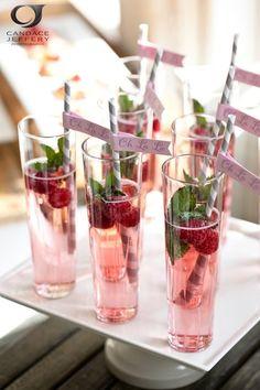 White wine, lemonade, mint & raspberries ! Perfect light summer wedding cocktail. yummy!