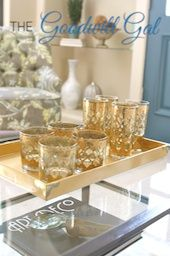 Gold vintage Culver glasses found at #Goodwill.  #thrift #home