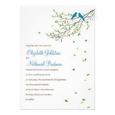 Love Birds Wedding Invitation Blue and Greens