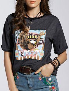 Letter Print Jewel Neck Short Sleeve T-Shirt