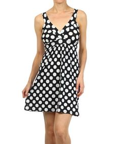 This Black & White Polka Dot Surplice Dress by Pretty Young Thing is perfect! #zulilyfinds