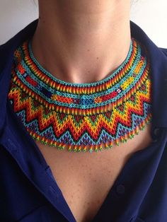 Beaded Choker handmade by artisans in the Huichol community in the state of Nayarit, Mexico. Width 4 inches Made with small beads, this type