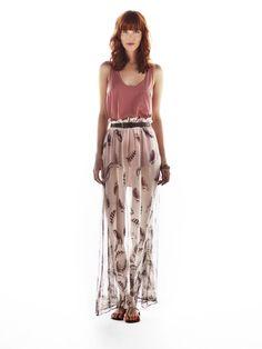 sheer feather maxi dress / River Island