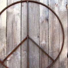 42 inch Giant Metal Peace Sign Wreath Wall Art by bluemetaldesign