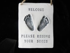 Baby Footprint Please Remove Your Shoes Sign-mold kit