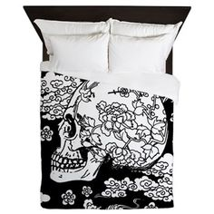 Skull With Blossoms Queen Duvet