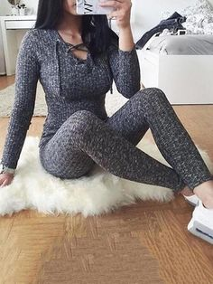 1f483b54038 Sexy Long Sleeve Lace Up Skinny Knitted Jumpsuit