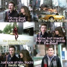 Klaine AU : Kurt doesn't care about the Flash but focuses on the cute guy across the street.