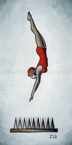 DIving Girl Original Tattoo Flash por OutofStepPaintings en Etsy, $25.00