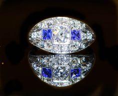 Exalted Antique Art Deco Diamond Sapphire by BellmansOnlineStore, $3850.00