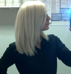 Long bob layered platinum blonde