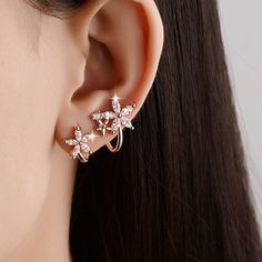 Polished Rhinestone Flowers Earrings #jewelry, #women, #men, #hats, #watches
