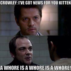 Castiel and Crowley Crowley Supernatural, Supernatural Tumblr, Castiel, You Had One Job, Super Natural, Misha Collins, Superwholock, Insight, Kitten