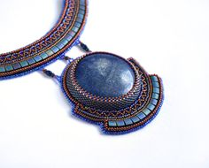 Bead embroidered Necklace beadwork jewelry-beaded by suzidesign