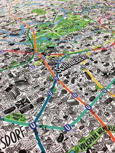 Hand drawn Berlin Map by Nadine Roßa #mapgeek @BadgerMaps