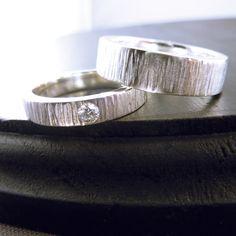 Wedding Rings - Wood Grain Sterling Silver. $330.00, via Etsy. someplaceelsewhere