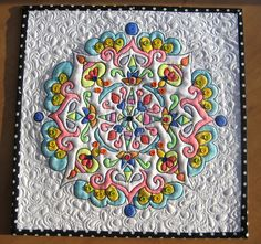 Mandala Quilt #2  - 41 tiny buttons on this one.  Can you find them all?