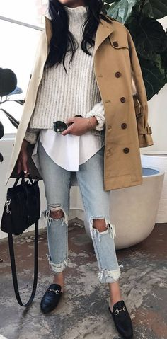 winter fashion trends / nude coat + knit sweater + shirt + bag + rips + loafers