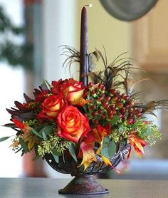 Fall Flower Arrangements, like the feather accents