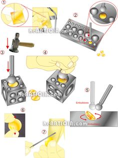Doming tools - silver ring http://heartjoia.com/6020-conformacao-discos-metal-calotes-esfericas