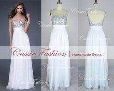 2014 Backless Prom Dress Beading Chiffon Dresses,Party Dress,Wedding Dress,Evening Gown,Evening Dress,Dance Dress