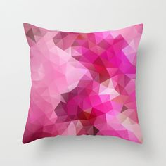 Art Pillow, Triangles, Polygon, Abstract, Throw, Pillow, Pillow Cover, Pattern, Flower, Throw Pillow, Pink, Orchid, 16x16, 18x18, 20x20