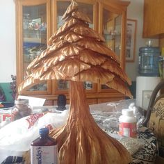 Wood carved Christmas Tree.