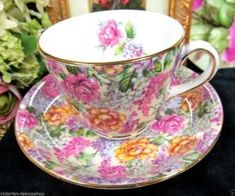 HAMMERSLEY TEA CUP AND SAUCER FLORAL CARNATION PATTERN CHINTZ TEACUP by marietta