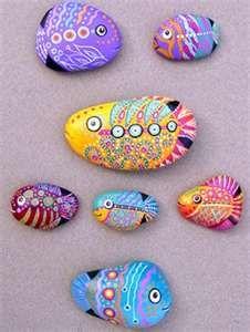 Fish rock painting ...  #craft #rock #paint #design   Cindy Rowe via Candy Rick onto April 2013 art. Buy fish too...