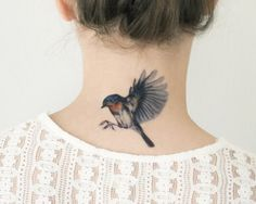 These beautiful bird temporary tattoos feature three designs, a saw-whet owl and blue bird in flight and a soaring swallow. Perfect for Halloween