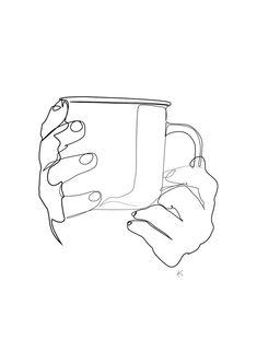 coffee art Hands Holding Coffee Tea Mug Minimal Art Black And White Coffee Drawing, Coffee Art, Iced Coffee, Espresso Coffee, White Art, Black And White, Minimal Art, Mug Art, Coffee Illustration
