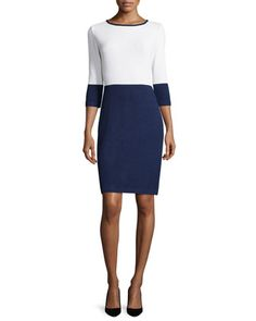 Colorblock+3/4-Sleeve+Knit+Dress,+Ink/White+by+St.+John+at+Neiman+Marcus.