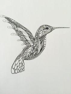 Zentangle Hummingbirdhummingbird artoriginal by TheTranquilFrog