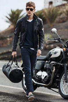 Leather Jacket - H.E. by Mango #mensoutfit