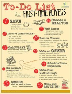 To Do List for First Time home buyers. Contact me for help with any real estate - Selling Home Tips - Ideas of Selling Home Tips - To Do List for First Time home buyers. Contact me for help with any real estate needs! I can help you find the perfect home. Home Selling Tips, Home Buying Tips, Home Buying Process, Buying A Condo, Real Estate Buyers, Real Estate Tips, Real Estate Investing, Real Estate Quotes, Real Estate Slogans