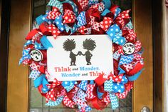 Dr. Seuss Wreath, Teacher Wreath, Classroom Wreath, Teacher Appreciation Wreath, Cat in The Hat Wreath, School Wreath, Classroom Door Hanger by Texascaseyscreations on Etsy