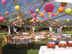 Just love the 120 colored lanterns in this clear top tent from Pacific Party Rentals. We only lit 20 lanterns. Food from Catering Connections. Specialty Linens from www.les-saisons.net. Wedding planning by Hawaii Weddings by Tori Rogers, www.hawaiianweddings.net