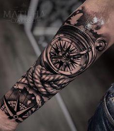Realistic Compass Tattoo - Forearm Tattoo Black and Gray - Re . - Realistic Compass Tattoo – Forearm Tattoo Black and Gray – Realistic Compass Tattoo – Forearm - Compass Tattoo Forearm, Compass Tattoo Design, Forearm Sleeve Tattoos, Best Sleeve Tattoos, Tattoo Sleeve Designs, Foot Tattoos, Body Art Tattoos, Tattoos Masculinas, Ship Tattoos